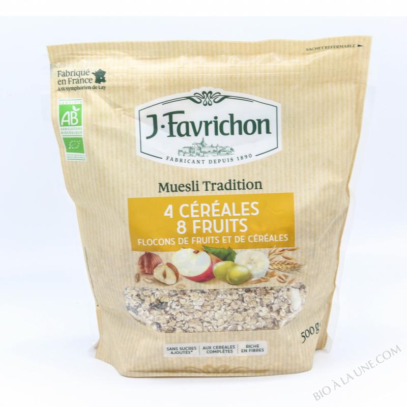 J.Favrichon Muesli tradition 4 Céréales et 8 Fruits Sachet refermable
