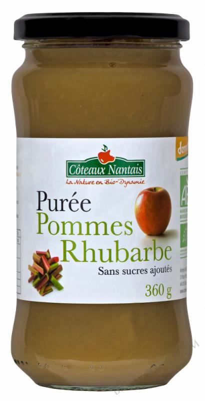Purée pommes rhubarbe 360 g Demeter