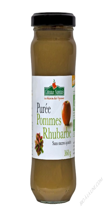 Puree pommes rhubarbe Bio et Demeter 360g