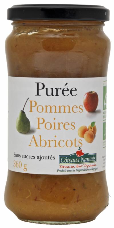 Puree pommes poires abricots Bio 360g