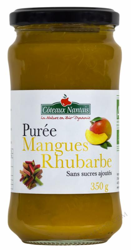 Puree mangue rhubarbe Bio 350g