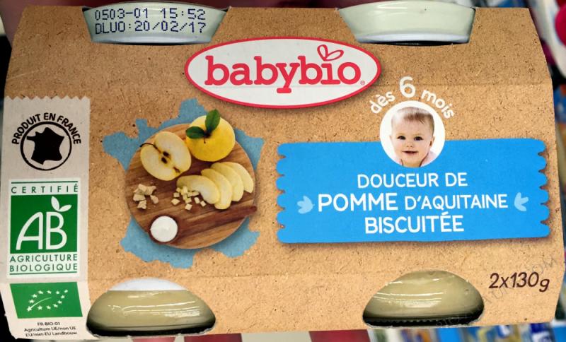 Petits pots Douceur Pomme Biscuit 6 mois 2x130g