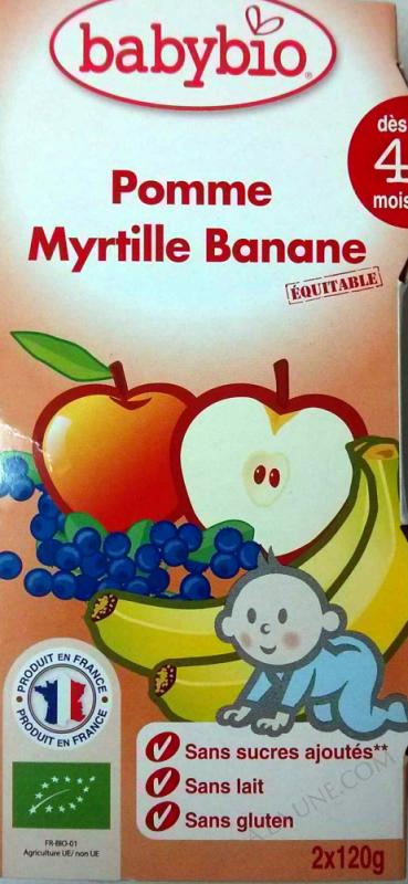 Bols Pomme Myrtille Banane des 4 mois 2x120g