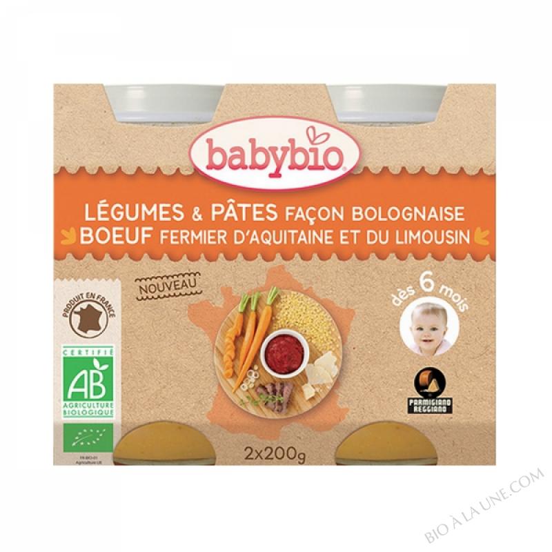 BABYBIO Pot Légumes Pâtes Bolognaise Boeuf