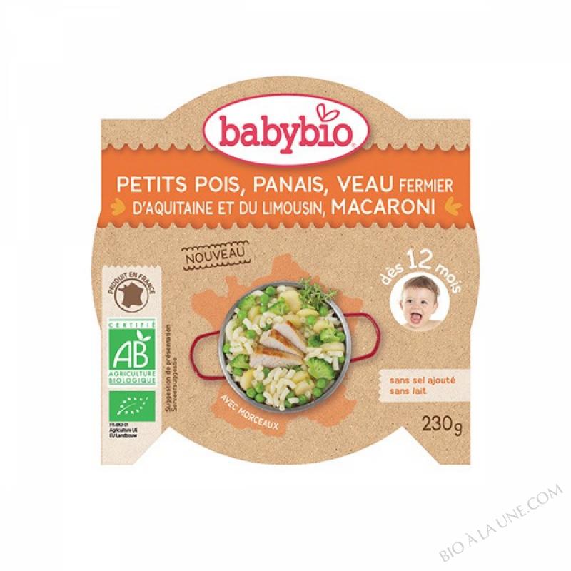 AssiettePetits pois Panais Veau Macaroni dès 12m