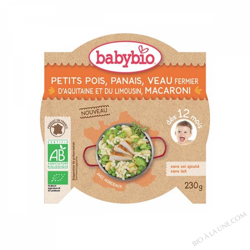 BABYBIO Assiette Petits pois Panais Veau Macaroni