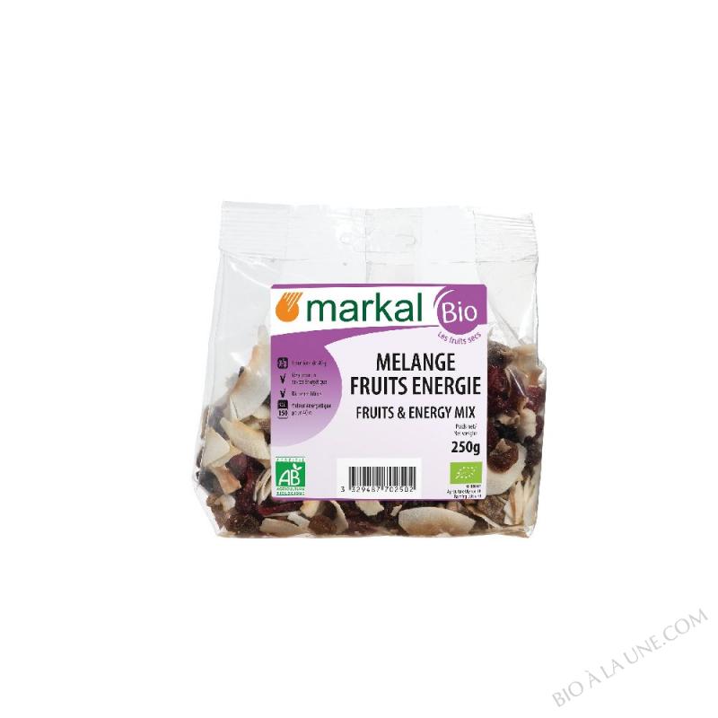 Mélange fruits énergie (raisins, bananes, noix de coco, cranberries, dattes)