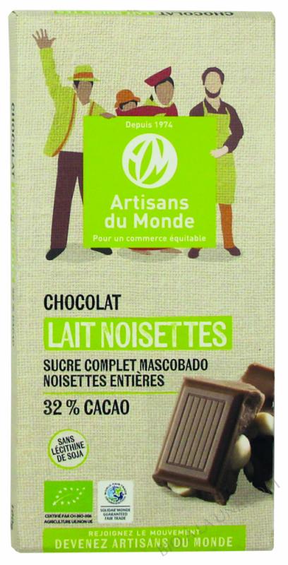 CHOCOLAT AU LAIT ET NOISETTES - 100G