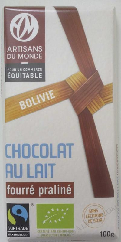 Chocolat au lait fourré praliné- 100 g