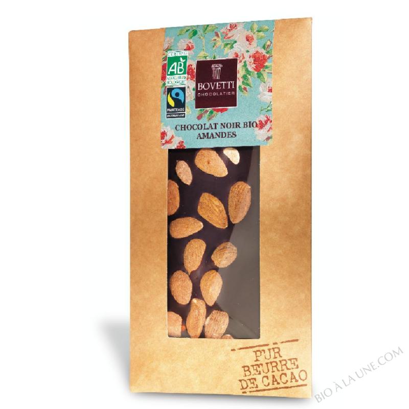 Tablette de Chocolat Noir bio aux Amandes 100g Bovetti