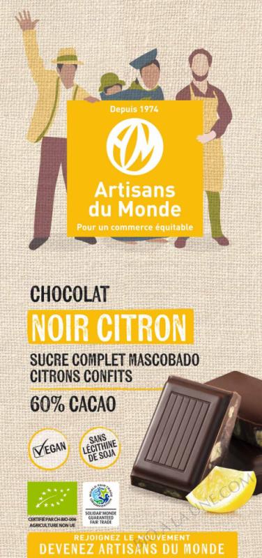 CHOCOLAT NOIR CITRON - 100G