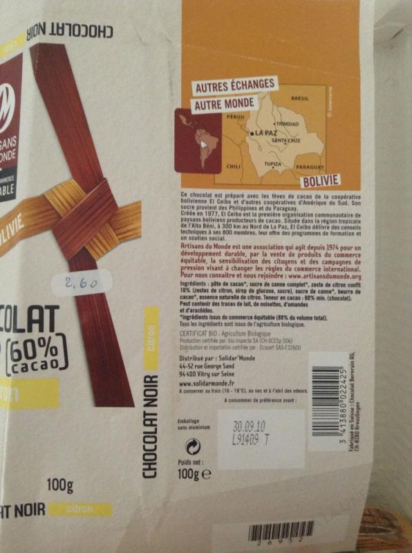 CHOCOLAT NOIR CITRON 60% 100G ARTISANS DU MONDE