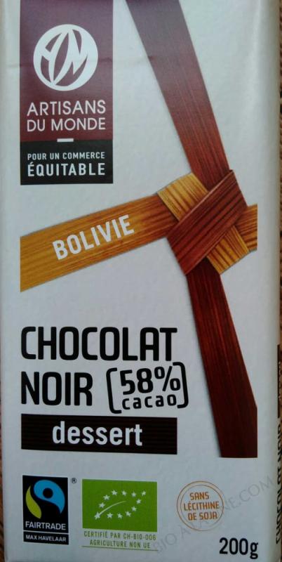 Chocolat noir dessert 58% cacao, Bolivie- 200g
