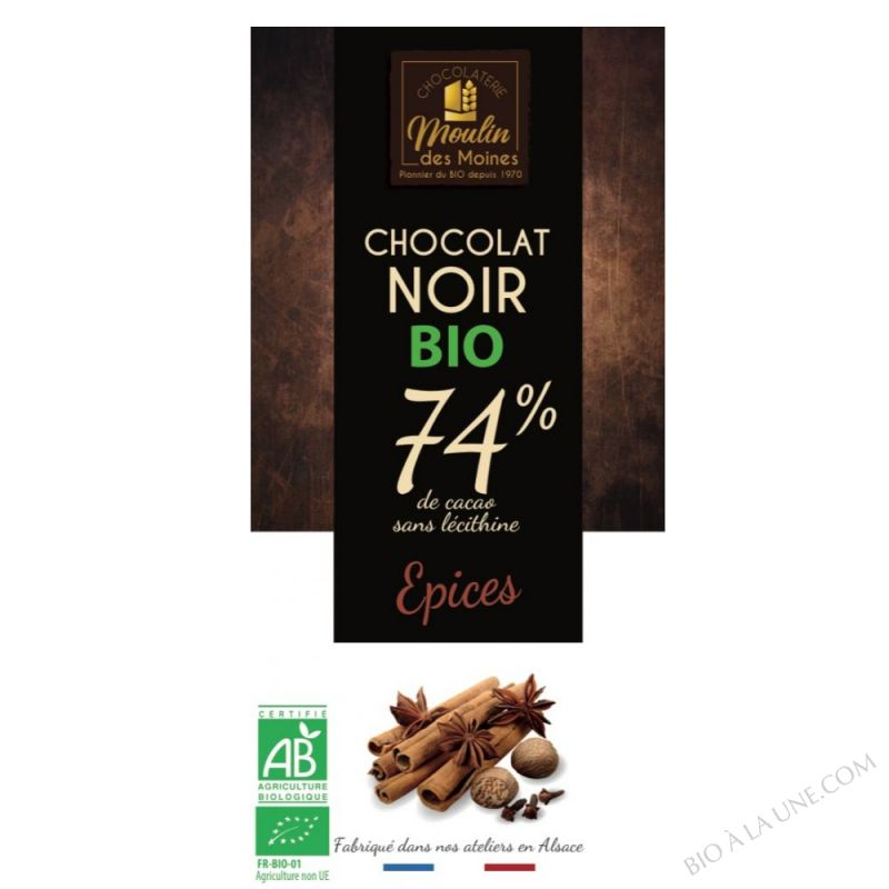 Chocolat Noir Epices BIO 100g