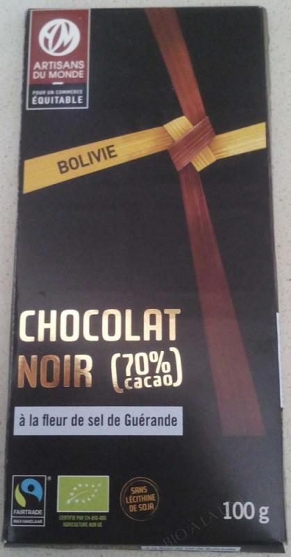 Chocolat noir (70%) à la fleur de sel de Guérande- 100 g