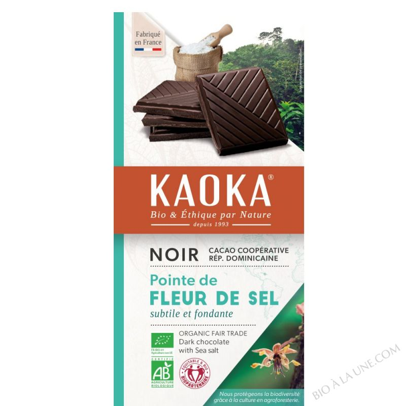 CHOCO NOIR 70% FLEUR SEL 100G KAOKA