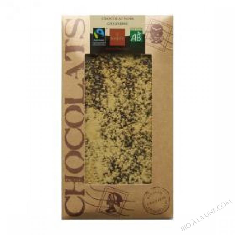 Chocolat noir bio au gingembre 100g