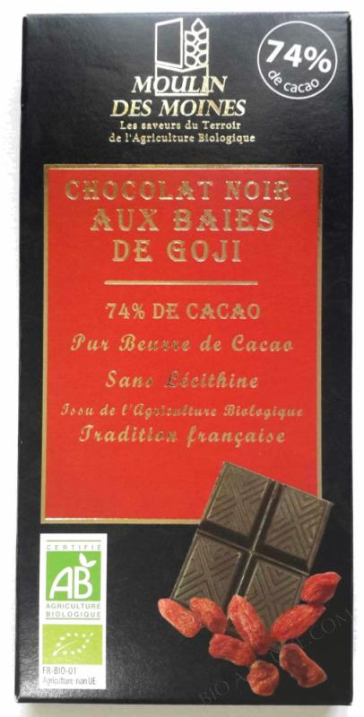 Chocolat Noir Baies Goji BIO 100g