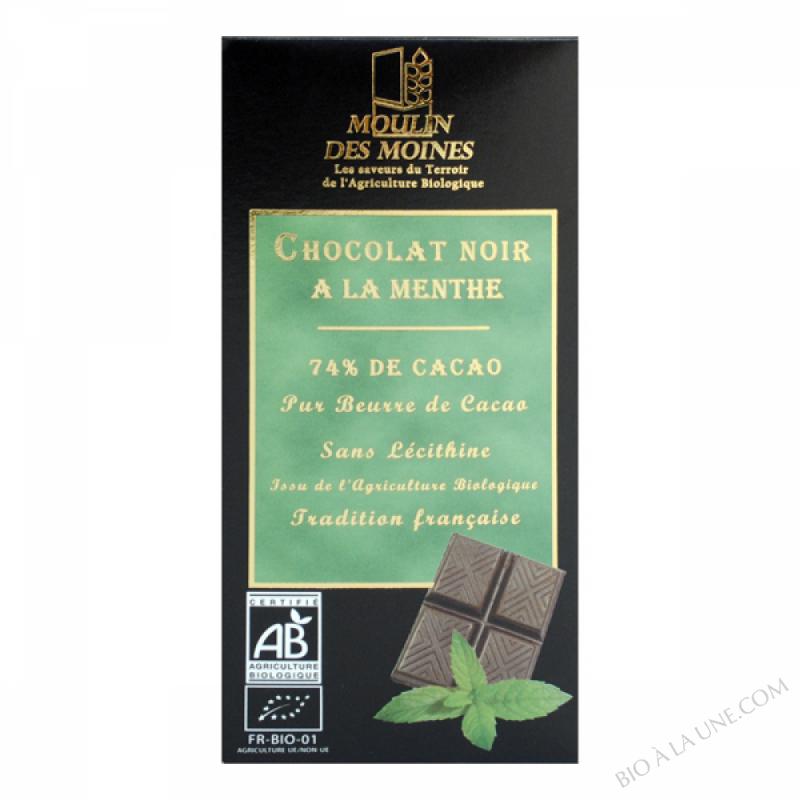 Chocolat noir 74% bio à la menthe - 100g