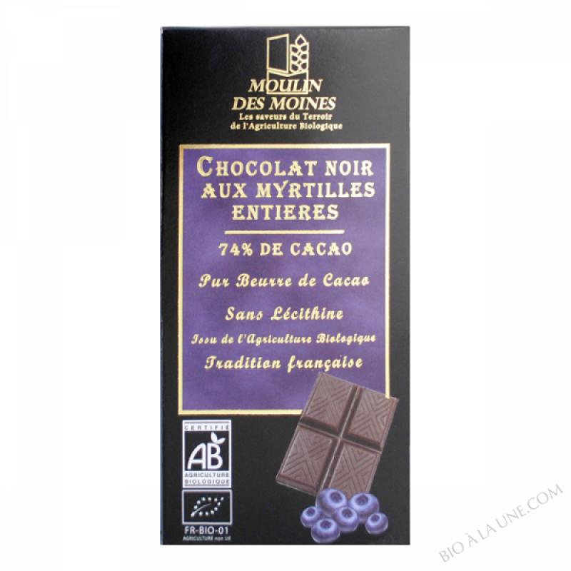 Chocolat noir 74% aux myrtilles - 100g