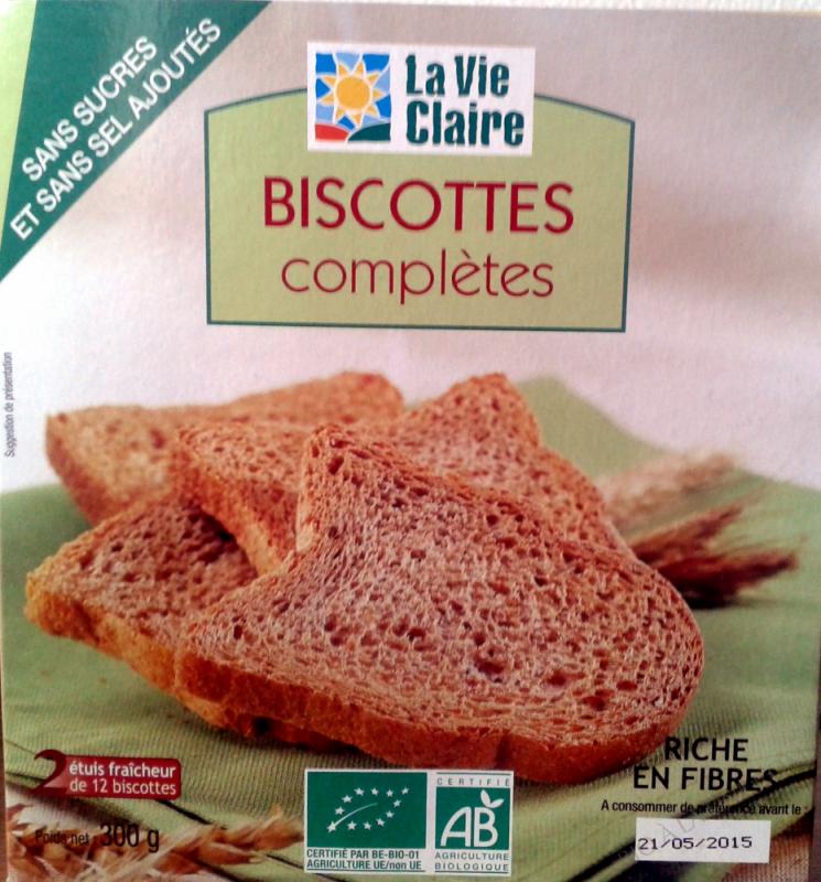 Biscottes complètes sans sucres et sans sel ajoutés- 300 g