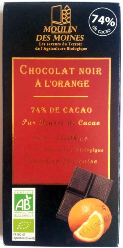 Chocolat noir 74% bio à l'orange - 100g