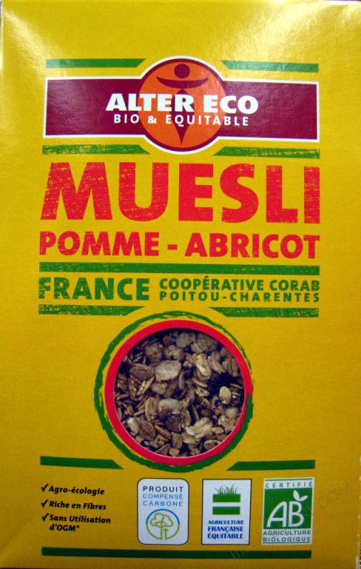 Muesli pomme-abricot Bio et Equitable Alter Eco- 375 g