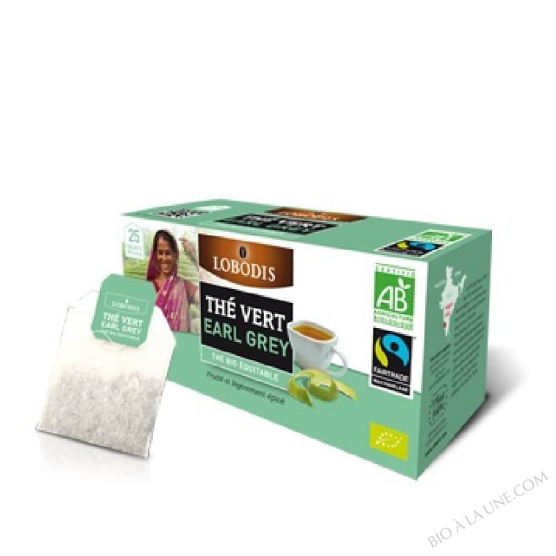 Thé Vert EARL GREY Bio Inde - Lobodis - 25 sachets