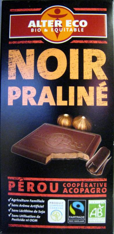 Chocolat Noir praliné Bio- 100 g