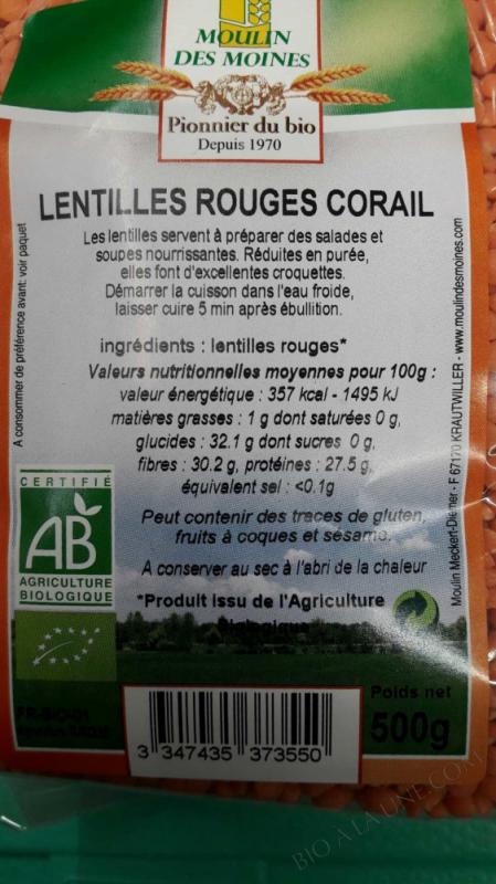 Lentilles rouges