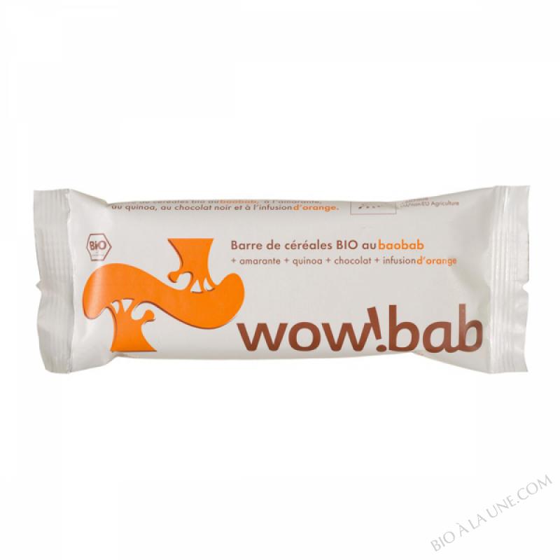 Barre Wow!bab baobab, amarante, quinoa, Orange, nappée chocolat bio - 30 g