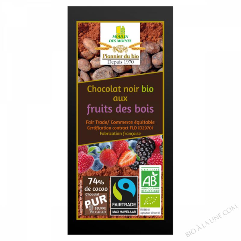 Chocolat noir 74% aux fruits des bois - 100g