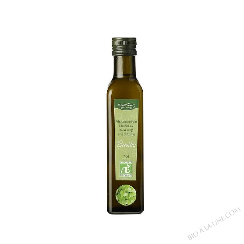 Huile d'olive vierge extra bio arômatisée au basilic - 250ml