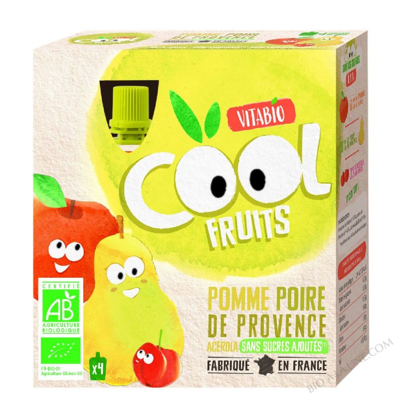 Compote Cool Fruits Pomme Poire Williams 4x90g
