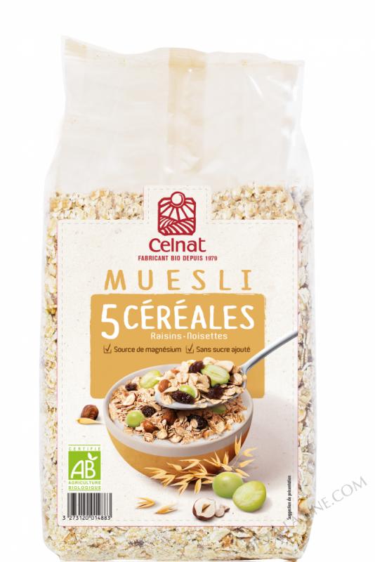 CELNAT Muesli 5 Céréales, raisins & noisettes BIO - 500g -