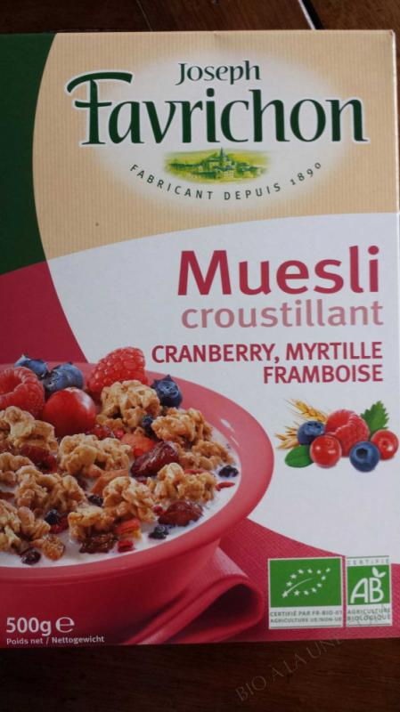 Muesli Cranberry Myrtille Framboise - 500g