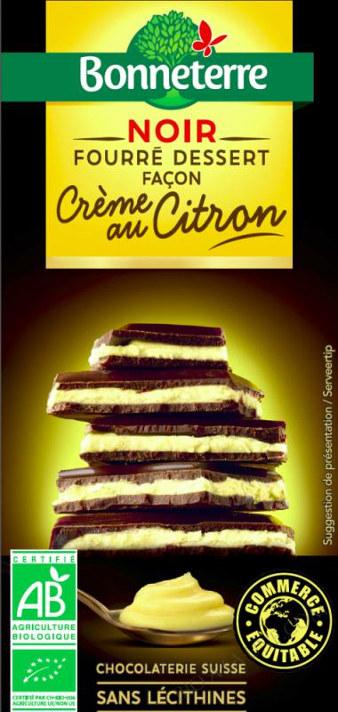 Chocolat Noir fourré dessert façon Crème au Citron bio - 100 G