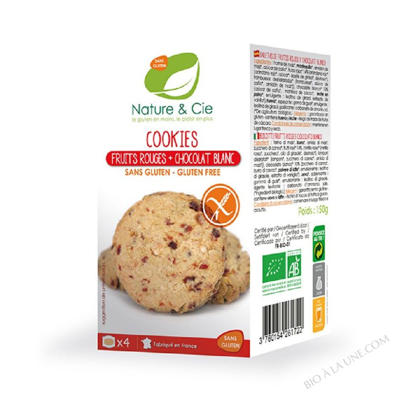 COOKIES FRUITS ROUGES ET CHOCOLAT BLANC X4
