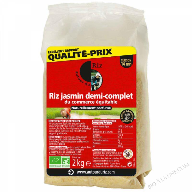 Riz Jasmin demi-complet du commerce equitable - 2kg