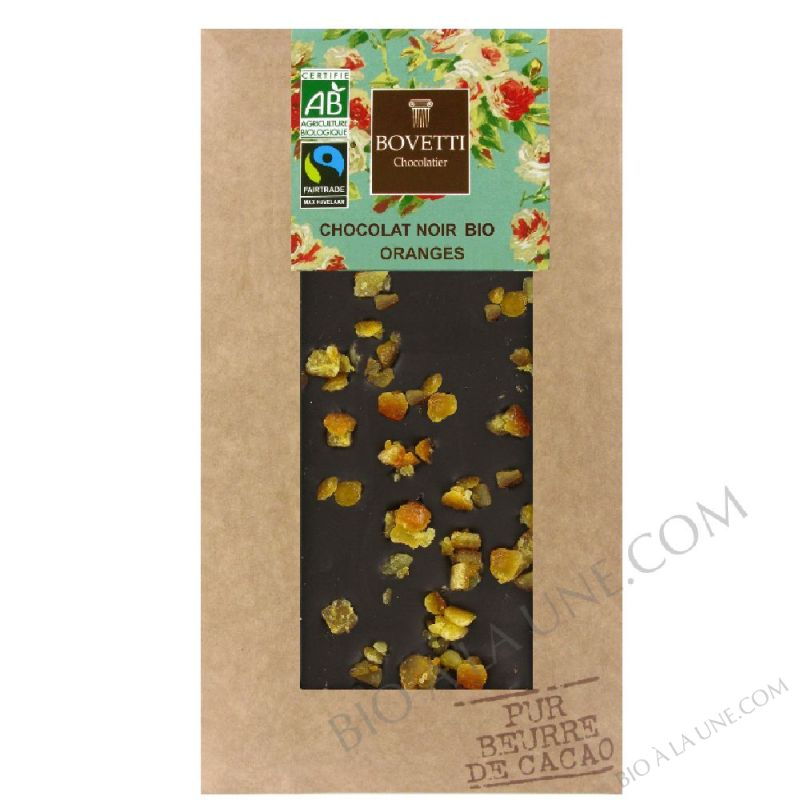 Tablette de Chocolat Noir bio aux Oranges confites 100g Bovetti