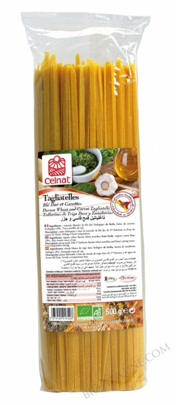CELNAT Tagliatelles Blé Dur et Carottes BIO - 500g
