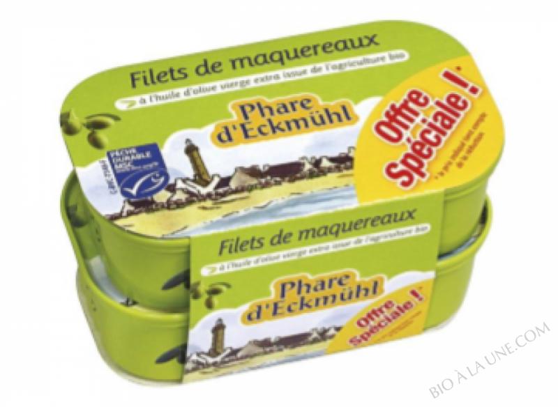 Offre Filets de maquereaux à l'huile d'olive bio 118g x2
