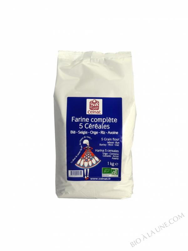 CELNAT Farine complète 5 Céréales BIO - 1KG