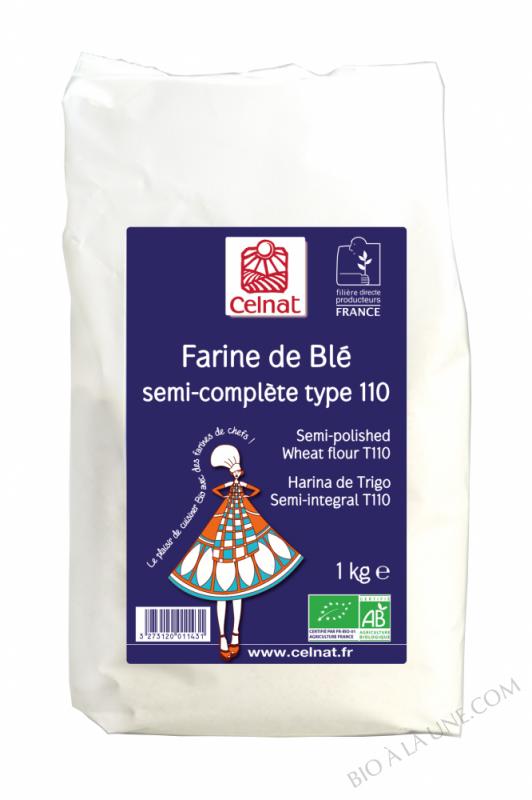 CELNAT FARINE DE BLÉ SEMI-COMPLÈTE TYPE 110 BIO - 1KG
