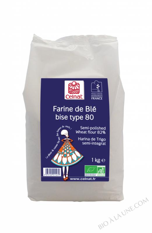 CELNAT Farine de Blé bise Type 80 BIO - 1KG