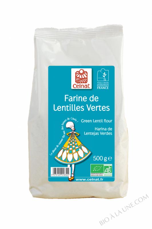 CELNAT Farine de Lentilles Vertes BIO - 500G