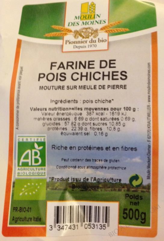 Farine bio de pois chiches complète - 500 g