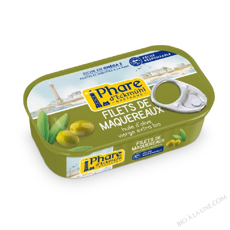 Filets de maquereaux à l'huile d'olive bio 118g