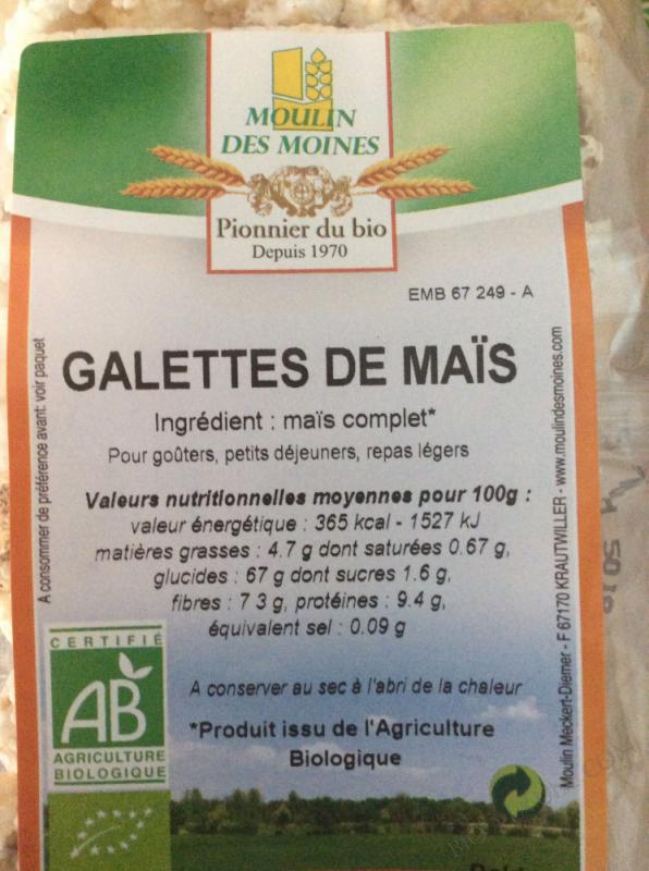 Galettes de maïs complet bio - 100 g
