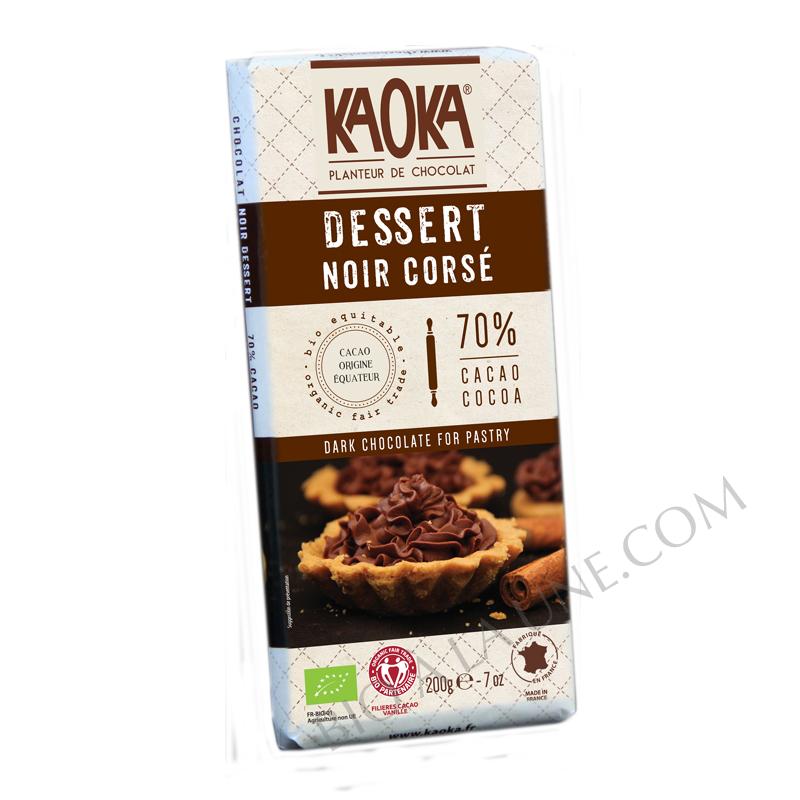 Chocolat DESSERT Noir Corsé 70% (pure origine Equateur) - KAOKA